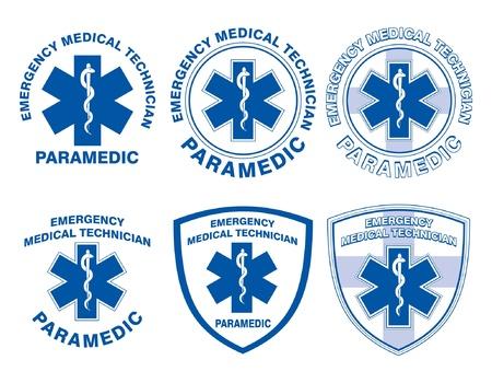 EMT Paramedic Medical Designs is een illustratie van zes EMT of paramedicus ontwerpen met ster van het leven medische symbolen Stock Illustratie