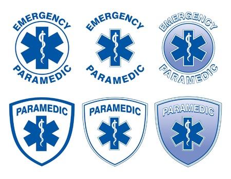 estrella de la vida: Medical Designs paramédico es una ilustración de seis diseños de paramédicos de emergencia con la estrella de símbolos médicos vida