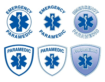 paramedics: Paramedic Medical Designs is an illustration of six emergency paramedic designs with star of life medical symbols  Illustration