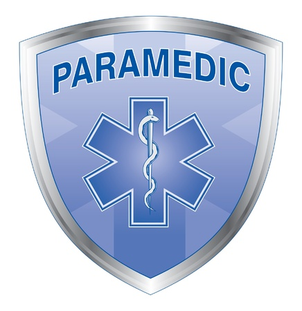 Paramedic Shield is an illustration of an emergency paramedic design with star of life medical symbol on a shield