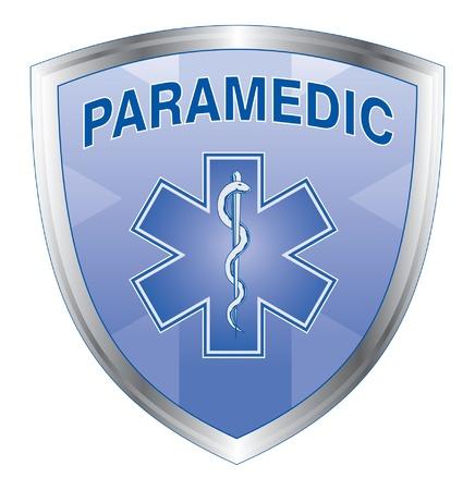 Paramedicus Shield is een illustratie van een noodsituatie paramedicus ontwerp met ster van het leven medische symbool op een schild Stock Illustratie