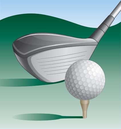 golfclub: Golf Club and Ball is een illustratie van een golf club en golfbal op een tee met een groene achtergrond en een blauwe hemel Stock Illustratie