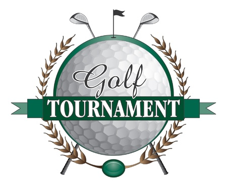 Golf Tournament Clubs Design is an illustration of a golf tournament design  Contains golf clubs and golf ball and a green background with flag and hole  Stock Illustratie