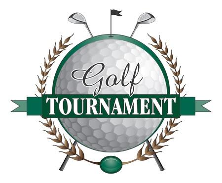 Golftoernooi Clubs Design is een illustratie van een golftoernooi ontwerp bevat golfclubs en golf bal en een groene achtergrond met de vlag en het gat