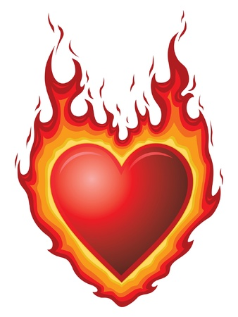 heart heat: Heart Burn is an illustration of a red heart shape with flames  It could represent heart burn or hot flaming love or passion