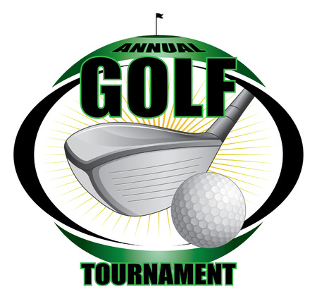 golf tournament design  Contains golf clubs and golf ball and a green background with flag, hole and star burst shape