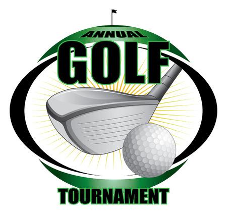 golftoernooi ontwerp Bevat golfclubs en golf bal en een groene achtergrond met de vlag, gat en ster uitbarsting vorm Stock Illustratie