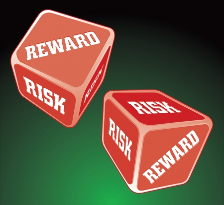 Risk Reward Dice is an illustration of two dice being rolled, representing the concept of risk and reward