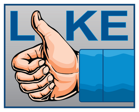 confirm: Like Thumbs Up is an illustration of the like or thumbs up concept with realistic hand and blue text