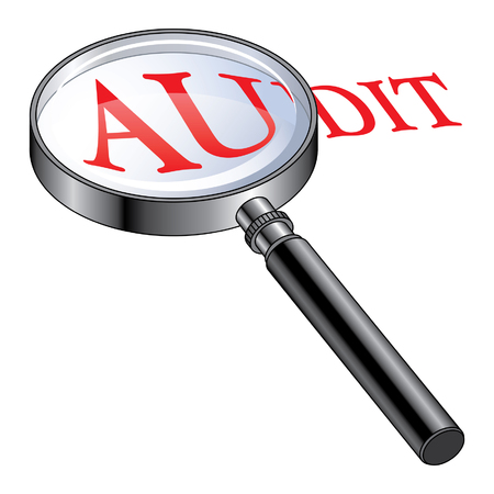 Audit Magnified is an illustration presenting the concept of being audited or of performing an audit Reklamní fotografie - 23110239