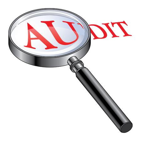 Audit Vergrote is een illustratie presenteren van het concept van de gecontroleerde of van het uitvoeren van een audit Stock Illustratie