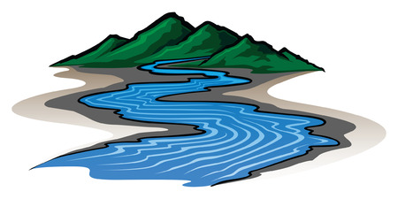 river: Mountains and River is an illustration of a graphic style mountain range and running river