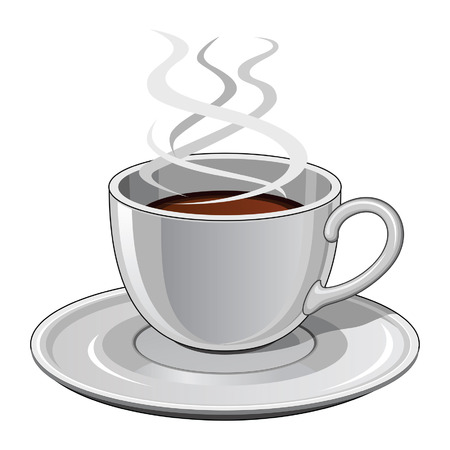 Cup of Coffee is an illustration of a hot steaming cup of coffee  Includes cup and saucer  向量圖像