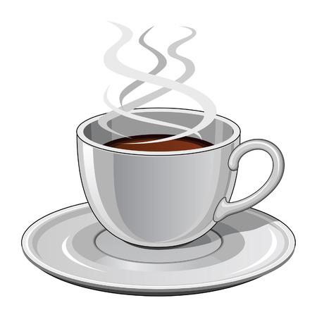 Kopje koffie is een illustratie van een hete dampende kop koffie Inclusief kop en schotel