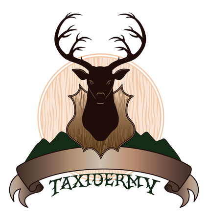 taxidermy: Taxidermy Design is an illustration of a taxidermy design template  Includes a mounted deer and a banner for your text  Great for t-shirts