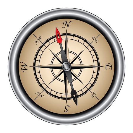コンパス方向のナビゲーションに使用される銀リムとビンテージ方向コンパスのイラストです。