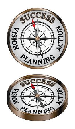성공 나침반은 방향 나침반에 진실로 북쪽으로 성공의 개념을 나타내는 그림입니다.