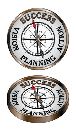 Success Compass is an illustration representing the concept of success as being true north on a directional compass  Çizim
