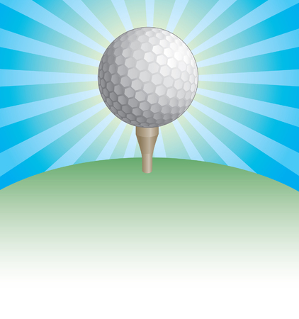 golf tee: Golf Ball On Tee Sunburst Design is an illustration of a golf ball on a tee with blue and yellow sunburst background and green grass