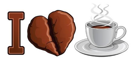 Illustratie uiting van de liefde van koffie Inclusief een beker gevuld met hete koffie en een hartvormige koffieboon