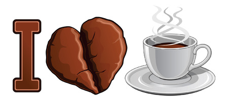 Illustration expressing the love of coffee  Includes a cup filled with hot coffee and a heart shaped coffee bean