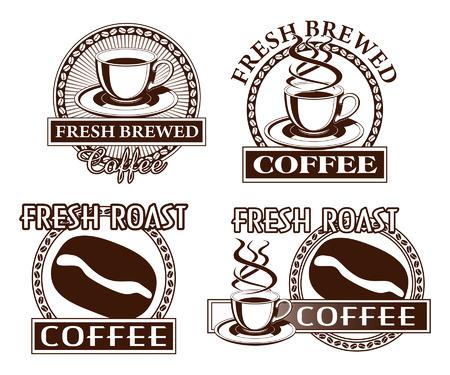 Kaffee-Designs ist eine Darstellung der vier Kaffee Designs Inklusive Bilder einer Tasse und Untertasse, Kaffeebohne, Sonnenschliff, und ein Kreis aus Kaffeebohnen Standard-Bild - 24366641