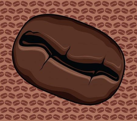 Coffee Bean is an illustration of a roasted coffee bean with a repeating coffee bean background pattern