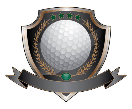 Golf Design Shield is an illustration of a golf design which includes a golf ball, shield and banner  Ilustração