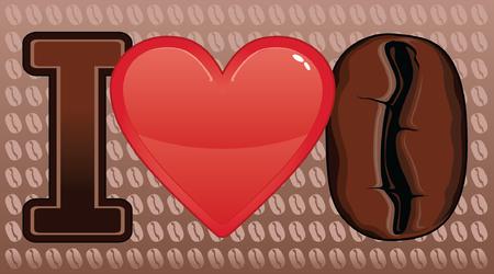 Illustratie uiting van de liefde van koffie Inclusief een hart en koffie bonen Stockfoto - 24804057