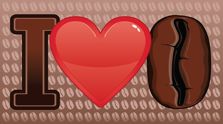 Illustration expressing the love of coffee  Includes a heart and coffee bean  向量圖像
