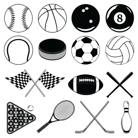 Sports Balls and Other Items is an illustration of balls and other sports related Items  Includes baseball, football, soccer and many others  Illustration