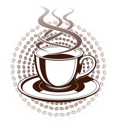 Cup of Coffee is an illustration of a hot steaming cup of coffee in a graphic style  Includes cup and saucer  向量圖像