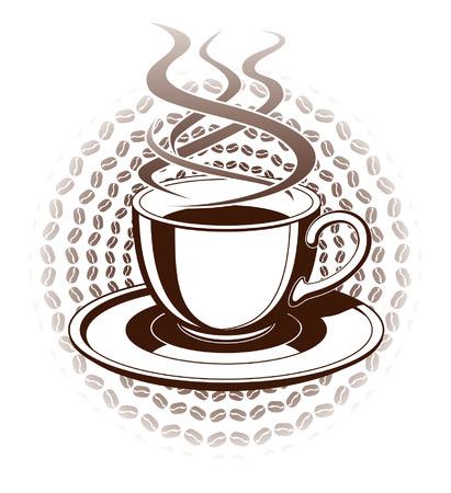 Kopje koffie is een illustratie van een hete dampende kop koffie in een grafische stijl Inclusief kop en schotel Stock Illustratie