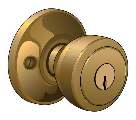 Deurknop is een illustratie van een deurknop in een reflecterende goud kleur met sleutelgat Stockfoto - 25311531