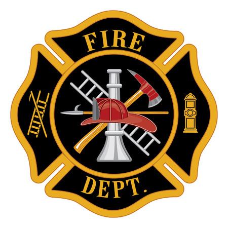 bombero de rojo: El departamento de bomberos o los bomberos cruz de Malta s�mbolo ilustraci�n