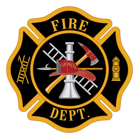 fire symbol: Fire department or firefighters Maltese cross symbol illustration  Illustration