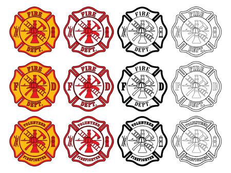 シンボル: 消防士の十字の記号は 3 つのわずかに異なる消防士のイラスト  イラスト・ベクター素材