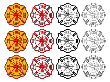 helmet: Firefighter Cross Symbol is an illustration of three slightly different firefighter