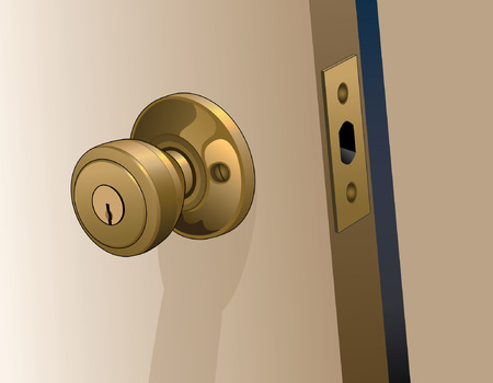 Door Knob on Door is an illustration of a doorknob in a reflective gold color with keyhole on a slightly open door