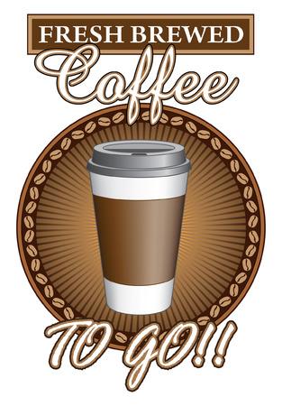 コーヒー新鮮な醸造 To Go は行くと新鮮な醸造デザイン コーヒーのイラスト、カップに行く