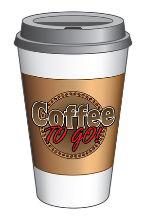 to go cup: Coffee To Go Cup is an illustration of a to go coffee cup with a coffee design on the front