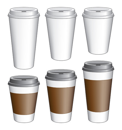 takeout: six Coffee  Cups   Illustration