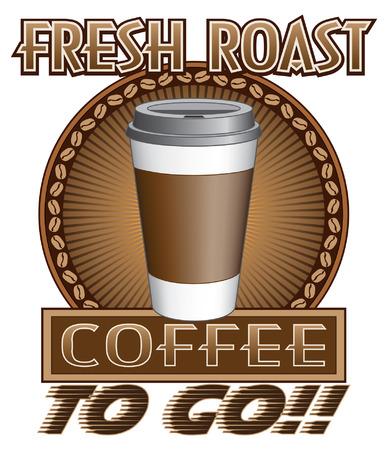 caf� � emporter: Du caf� frais r�ti To Go est une illustration d'un caf� pour aller conception de caf� fra�chement torr�fi� avec un aller tasse, rayon de soleil et le cercle des grains de caf� Illustration