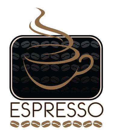 Ontwerp van de Koffie Espresso is een illustratie van een espresso koffie Het ontwerp omvat een koffiekop en koffieboon graphics Stock Illustratie