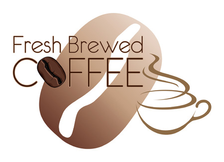Coffee Design Fresh Brewed With Bean is an illustration of a coffee design  Includes a coffee cup and coffee bean graphics