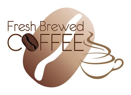 Coffee Design Fresh Brewed With Bean is een illustratie van een koffie-ontwerp Inclusief een koffiekopje en koffieboonafbeeldingen Stockfoto - 26038302