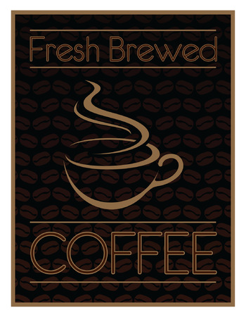 Coffee Design Fresh Brewed is an illustration of a coffee design  Includes a coffee cup and coffee bean graphics
