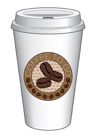 Coffee To Go Cup Design With Beans is an illustration of a coffee design on a to go or take out coffee cup  Includes coffee bean graphics  Ilustração