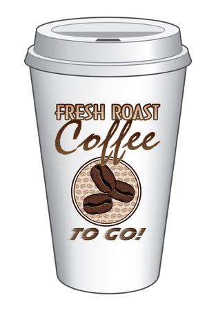 caf� � emporter: Caf� pour aller de la Coupe de Fresh Design Grain de caf� est une illustration d'une conception de caf� sur un aller ou sortir tasse de caf� comprend des graphiques de grains de caf�