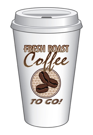 lid: Coffee To Go Cup Design Fresh Roast Coffee is an illustration of a coffee design on a to go or take out coffee cup  Includes coffee bean graphics